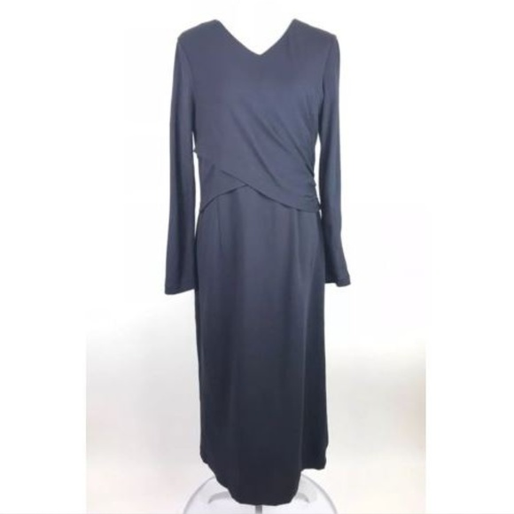Lafayette 148 New York Dresses & Skirts - Lafayette 148 Dress Blue Viscose Wrap Long Sleeve